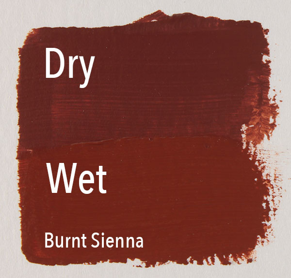 Wet to dry color shift with Burnt Sienna