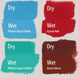 Four examples of how acrylics dry darker.