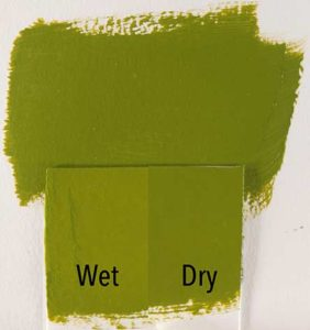 An example of acrylic paint that dries darker