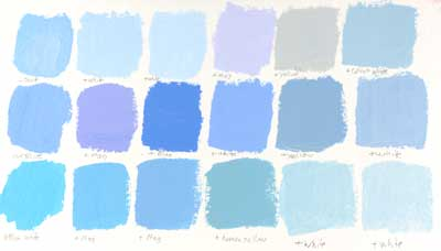 Sky Blue color swatches mixed with acrylic paint.