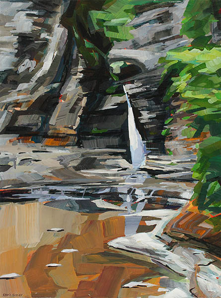 Painting of a waterfall at Watkins Glen State Park