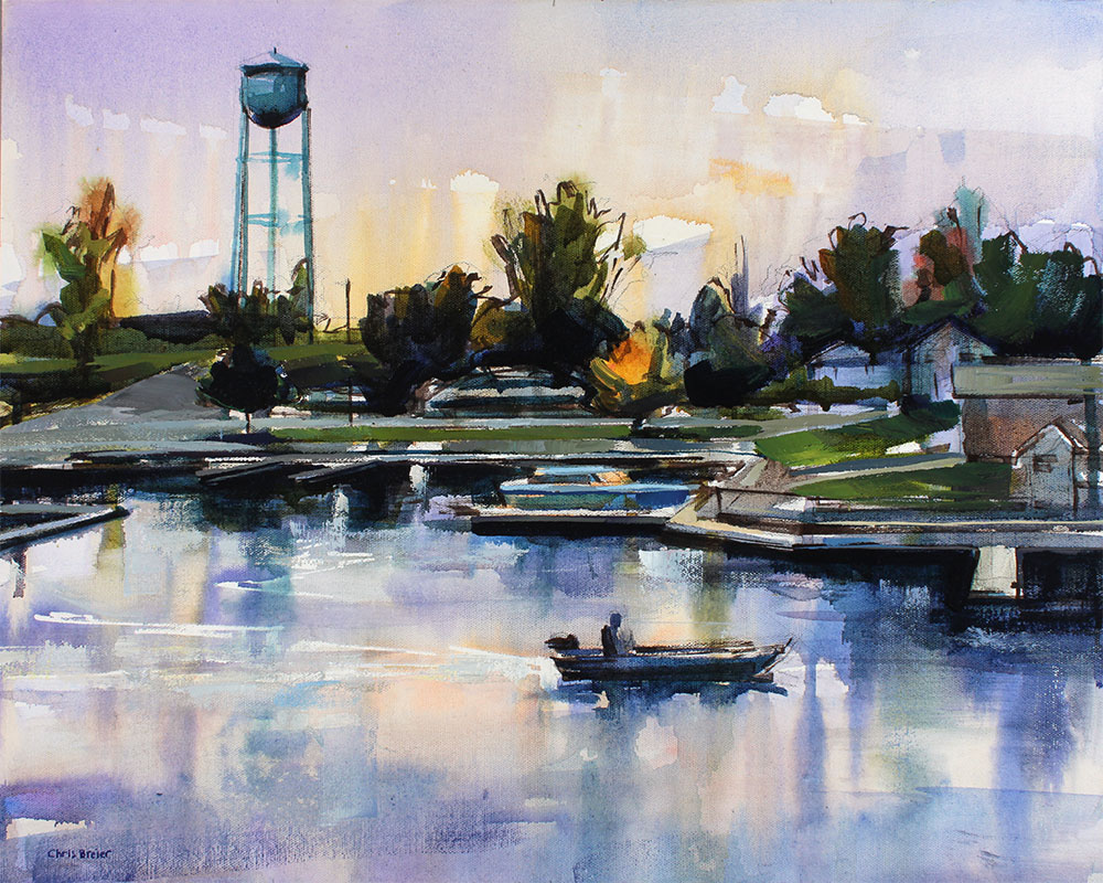 Painting of the marina at Newfane marina