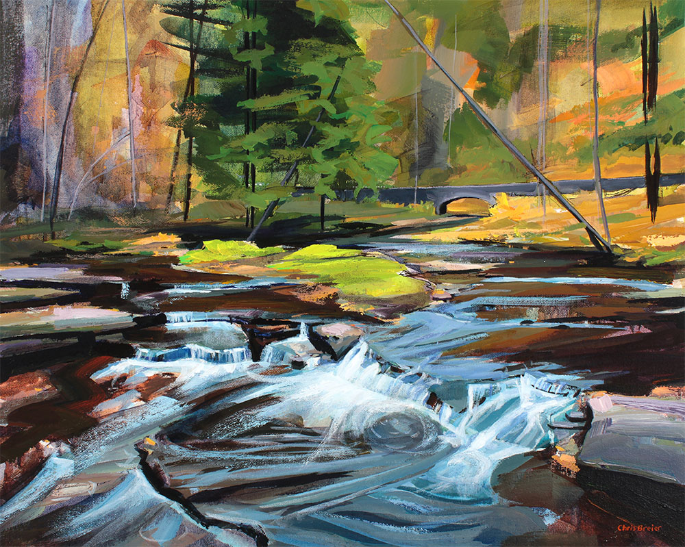 A painting of Wolf Creek at Letchworth State Park