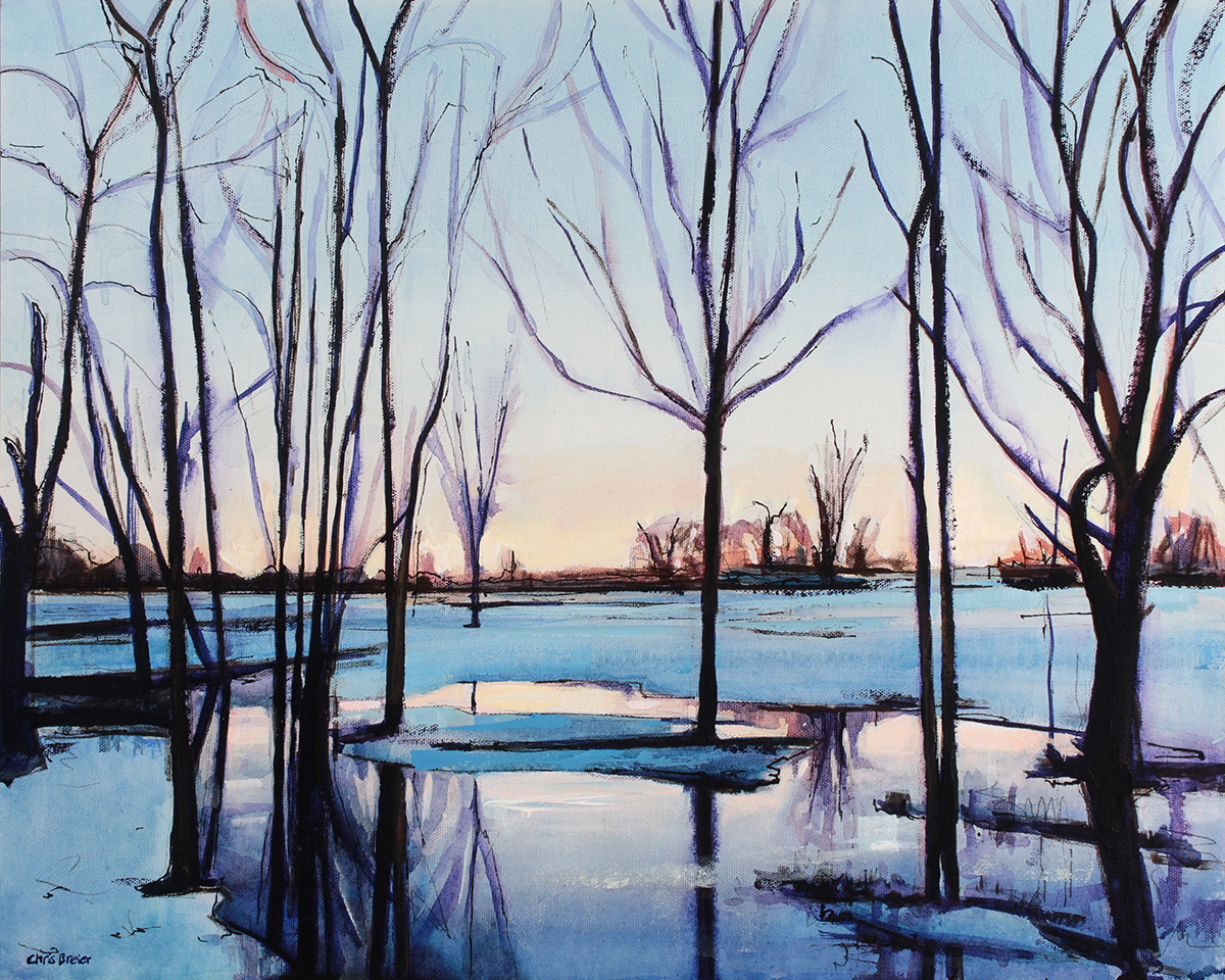 A painting of a winter landscape