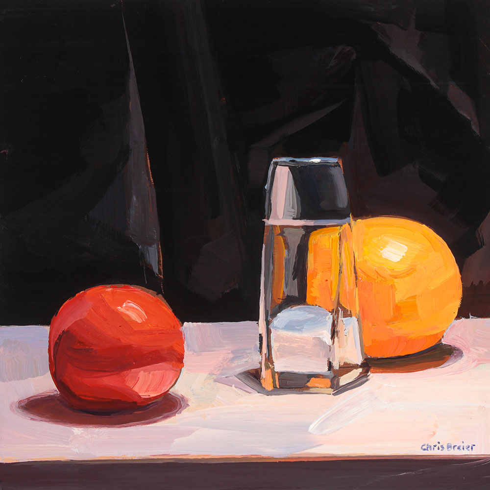 Still life painting of a tomato salt shaker & Orange