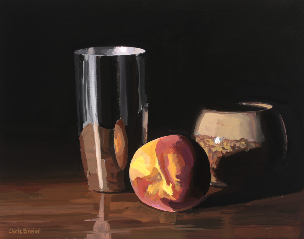 Still life painting of a peach, metal cup, and ceramic bowl