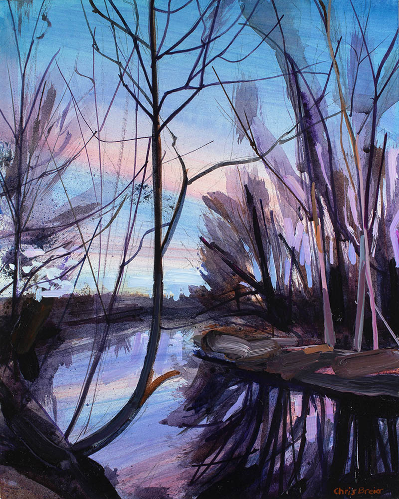 Painting of trees along a creek