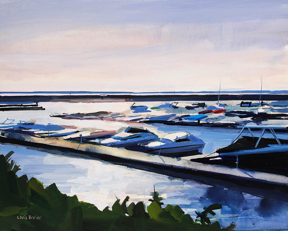 A painting of the Buffalo waterfront