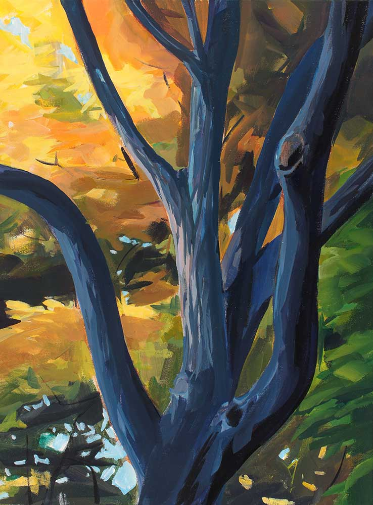 A painting of a colorful tree