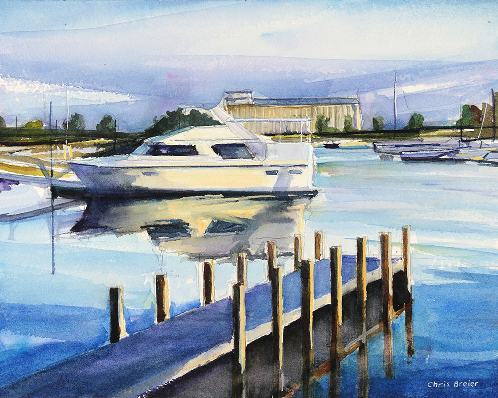 A painting of the boats