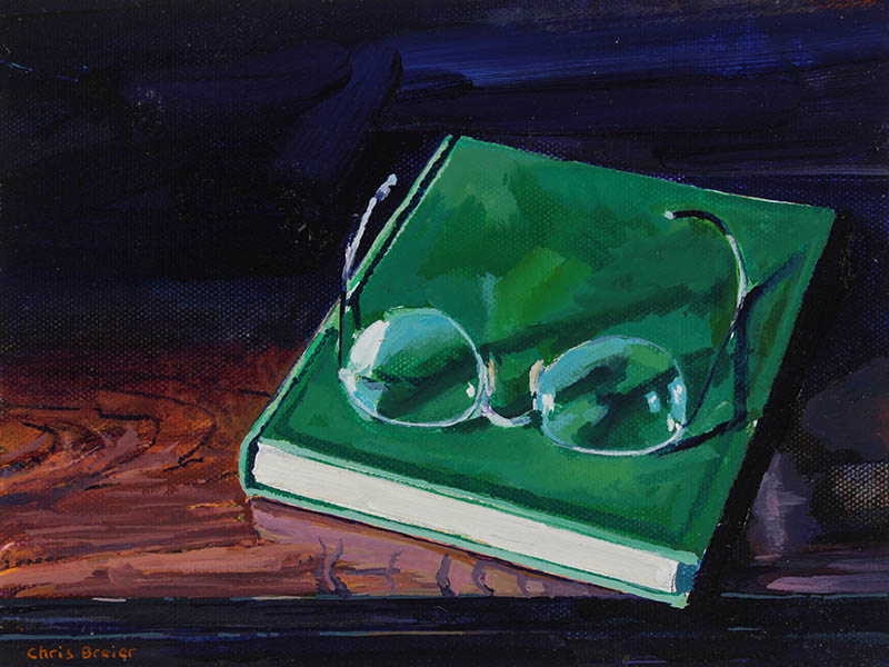 A still life painting of a book