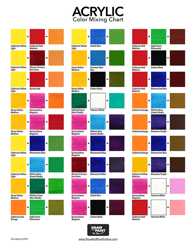 Acrylic Color Mixing Chart: Free PDF Download