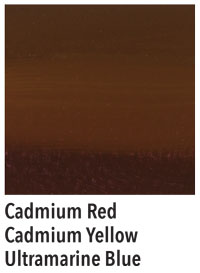 Brown made from red, yellow, and blue.