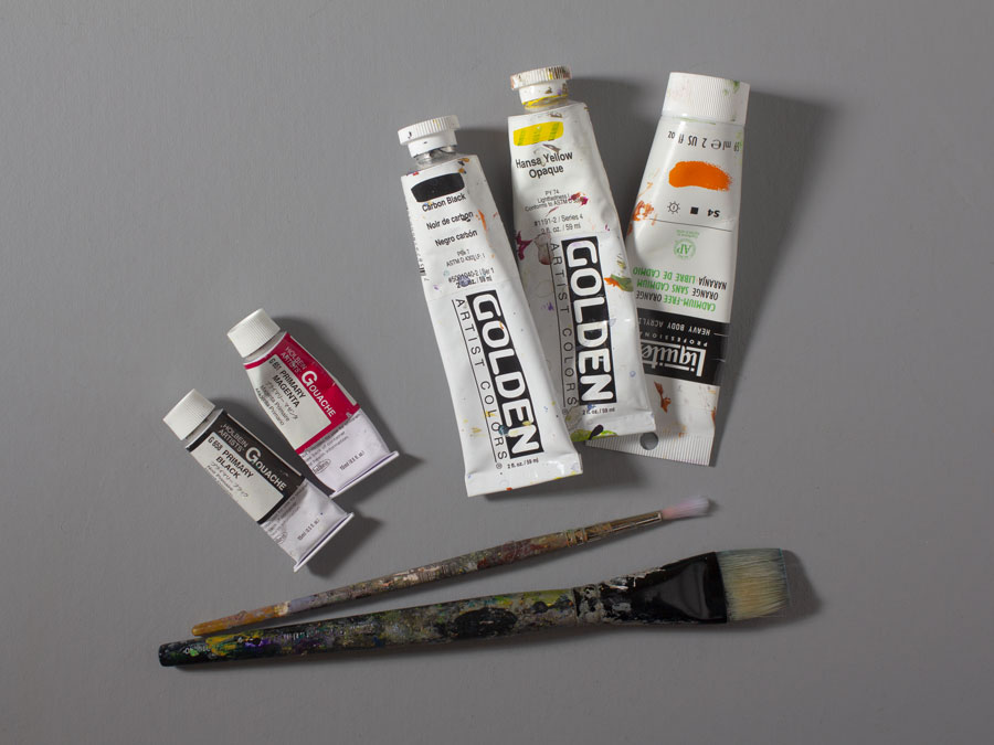 Tubes of acrylic and gouache paint